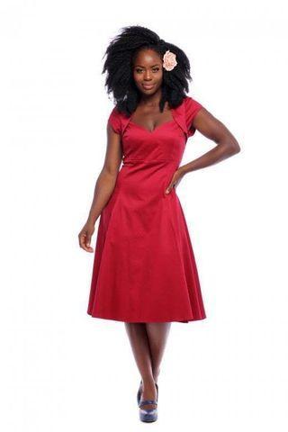 🚚 BNWT Collectif Vintage Mainline Regina Plain Doll Dress In Burgundy