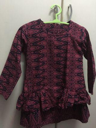 Printed baju kurung for kids