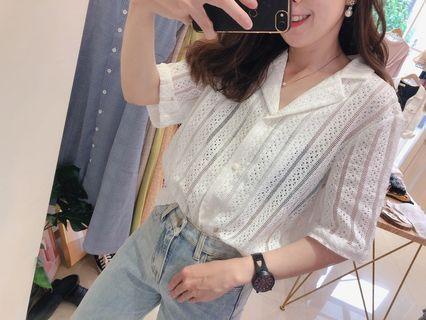 🚚 🏷韓系chic style•超美縷空短袖洞洞短袖襯衫