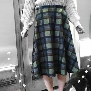 🔄Olive Green Tartan Skirt