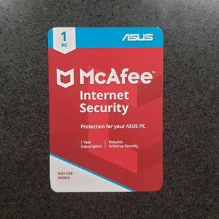 Asus McAfee Internet Security 1 Year Subscription New #MRTTampines