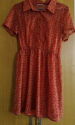 🚚 古著風格//蘑菇雪紡兩件式洋裝
