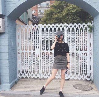🚚 英倫學院風 混編織裙 灰色 百搭 顯瘦 古著