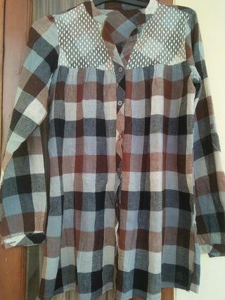 #mauthr Shirt Kemeja Brown big size