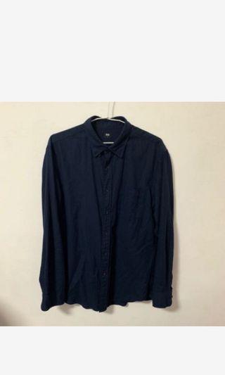 🚚 Uniqlo 法絨紋襯衫 L