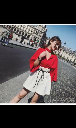 套裝-紅色翻領上衣+白色短褲