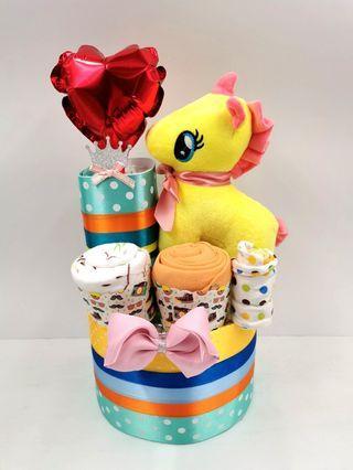 Diaper Cake 2 Tier Unicorn Baby Girl Hamper