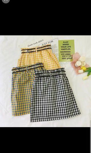 Preroder women Checkered Skirt - black/yellow/blue
