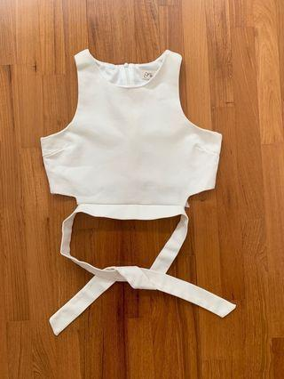 Pre-loved White Cropped Top with Back Ribbon