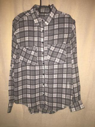 Black & White Checkered Polyester Shirt