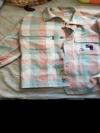 vintage patch flannel outer shirt
