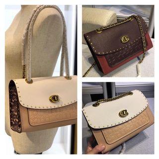 COACH; Parker with Snakeskin & and Rivet Handbag / Shoulder Bag