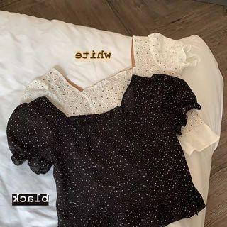 INSTOCK/PO: Black Dotted Crop Top
