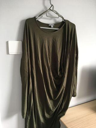COS army green dress draped 摺裙
