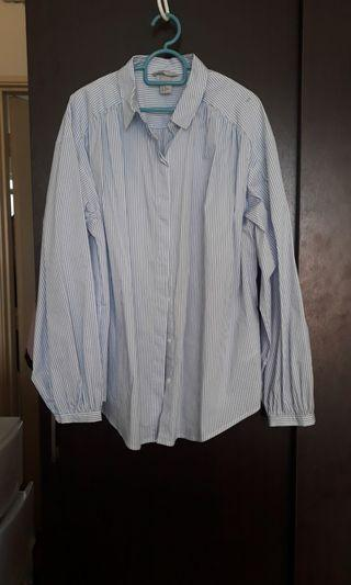 Shirt blue and white stripes long sleeves H&M shirt