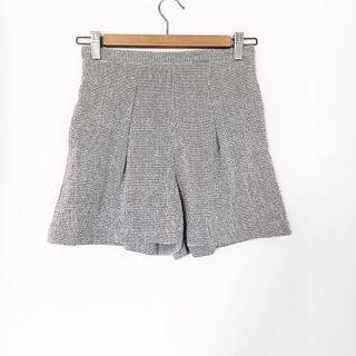 🚚 BN Grid Printed Highwaist Flare Shorts In Grey