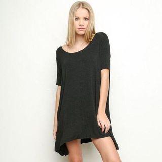Brandy Melville Anita T-shirt Dress In Dark Grey