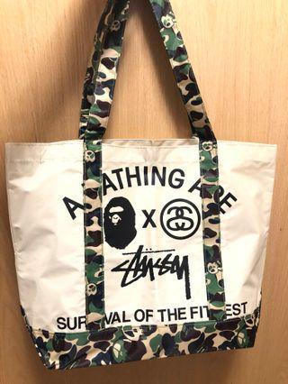 Bathing ape x stussy 雜誌袋 tote bag