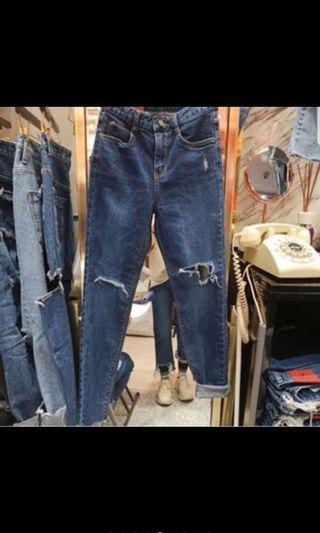 🚚 正韓🌸超顯瘦彈性粉紅標牛仔褲