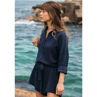 The Closet Lover Sacara Sleeved Romper in Navy