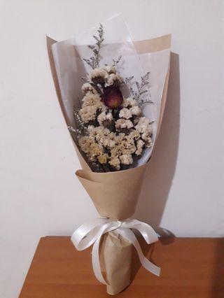 乾燥花 玫瑰白星辰花束