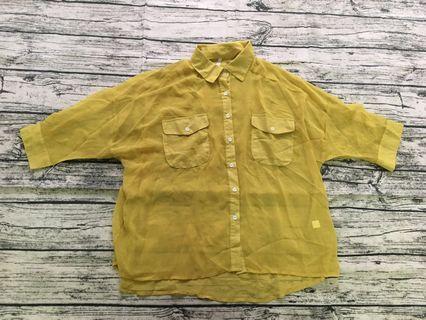 🚚 黃色雪紡寬版襯衫