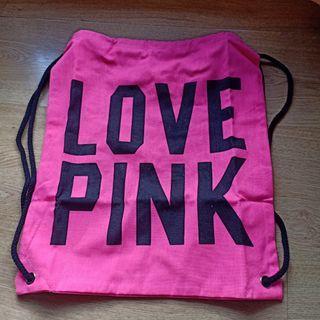 Love pink drawstring Bag