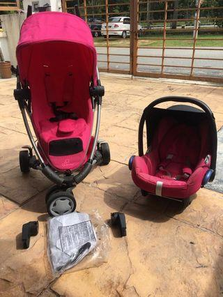 Stroller quinny xtra 2.0 passion pink + carseat maxicosi cabriofix