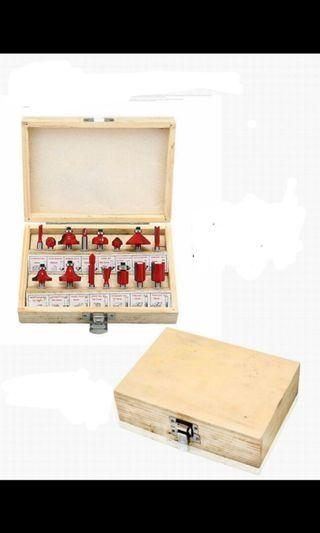 sale 15 router wood bit in beautiful wood box