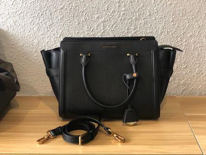 Charles & Keith LARGE Black Hand Bag with Sling Strap