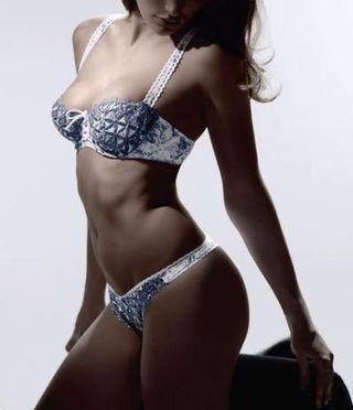 【專櫃正品】 Aubade BAHIA Tanga Sweet Kisses 經典有機棉 刺繡藍灰色丁字褲 原價2980 實品拍攝