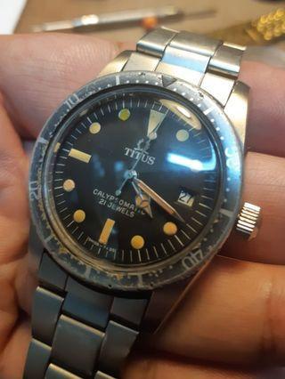 vintage Titus  calypsomatic diver watch 古董潛水錶鐵達時