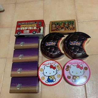 Assorted metal tins for giveaway