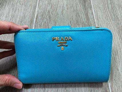 💙like new Prada turquoise blue saffiano wallet