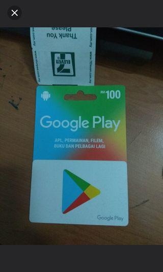 Google Play store Gift Card RM100