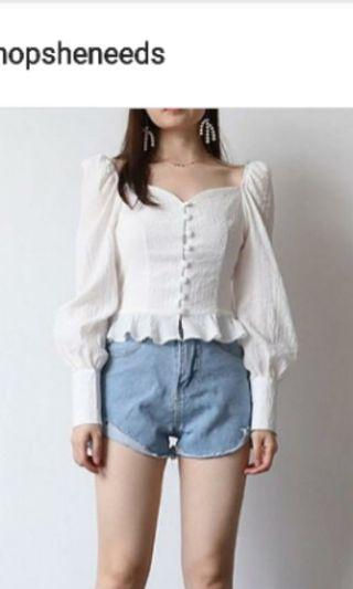 Puff sleeves white top