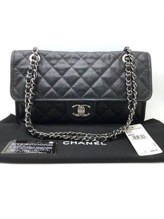 🚚 Preloved Chanel riviera black soft caviar shw #18 with db card holo tag p