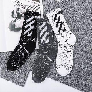 Marbled off white High socks