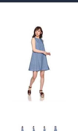 (附實物圖)日牌Snidel麻綿藍色背心連身裙