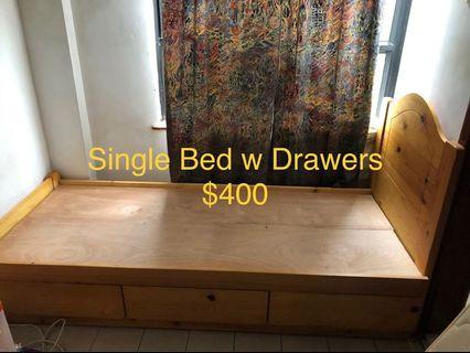 Single Bed w drawers