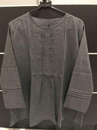 Blouse denim abu abu / dark grey