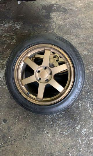 Used Bronze rims 18x8j et35 5x114.3. No scratches. Comes with tires at 70%.