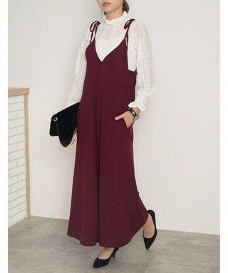 🚚 Japan Re:edi overall / all in one dress pants / wine red