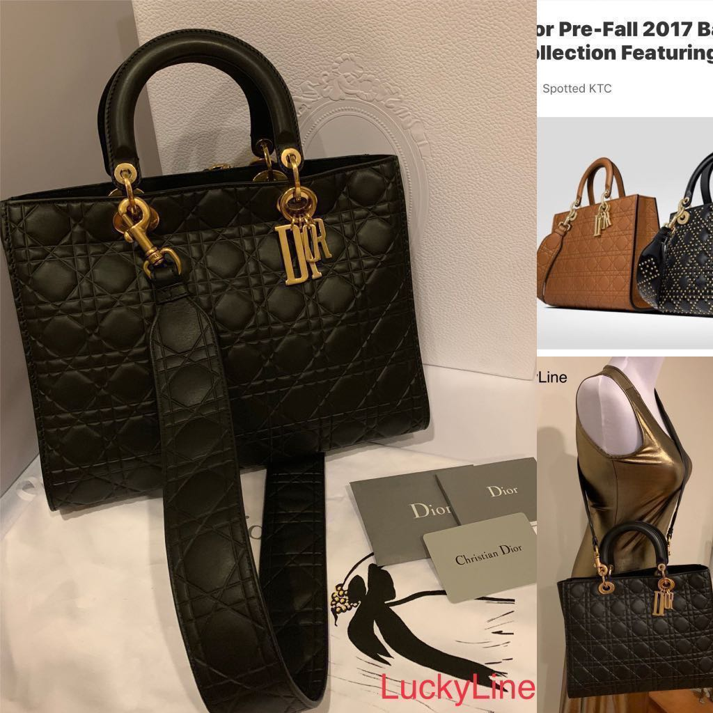 5332198201 2017 Dior Black Cannage Large Lady Dior Bag Limited Edition - Full ...