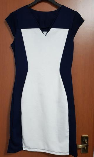 Office Working Dress Navy Blue with White
