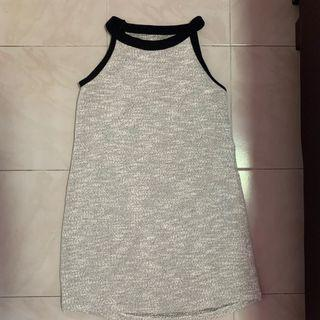 Grey Knitted Halter Shift Dress