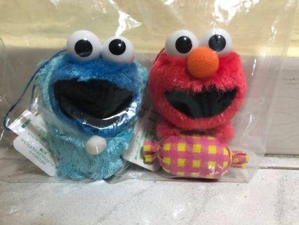 Sesame Street Cookie Monster & Elmo plush/ soft toy/ stuffed toy key chain (with Sesame Street)