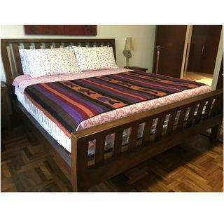 King Size Teak Bed Frame and Mattress