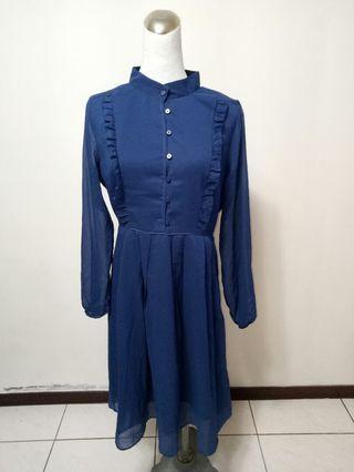 【保證新品】深藍色連身氣質洋裝