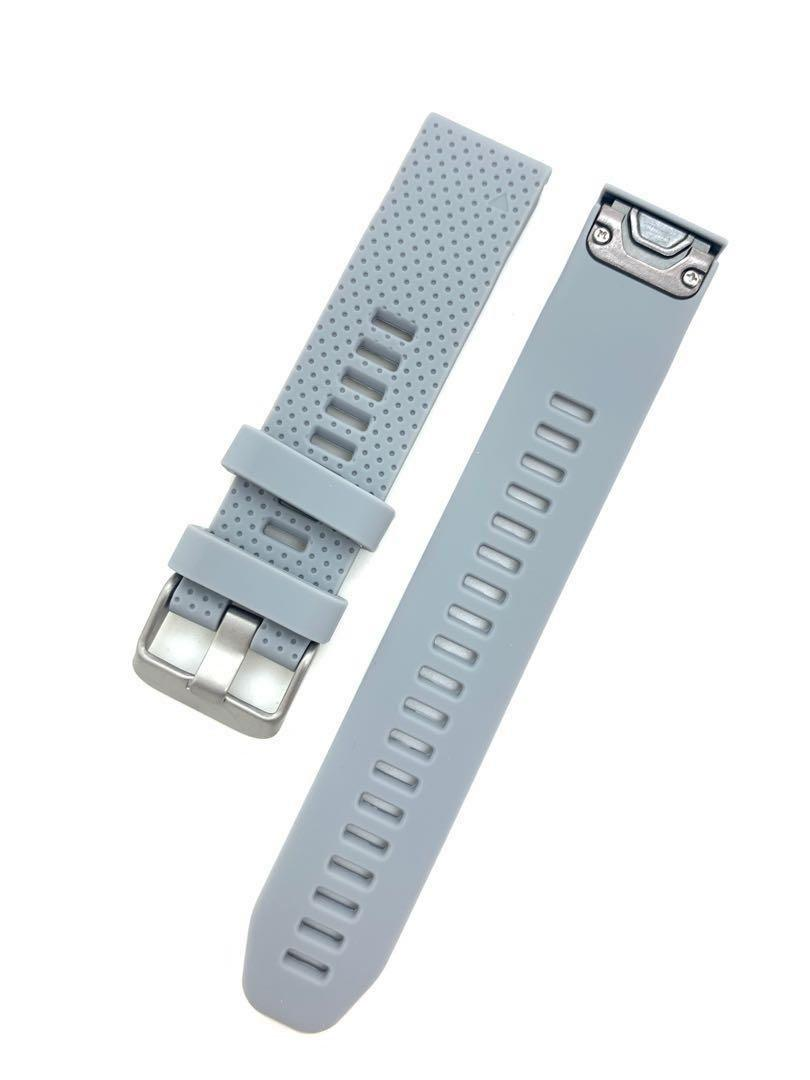 20mm Grey Silicon Rubber Replacement Watchband Watch Strap with Quick Release for Garmin Fenix 5S Garmin Forerunner 645 and other watches with 20mm lug width